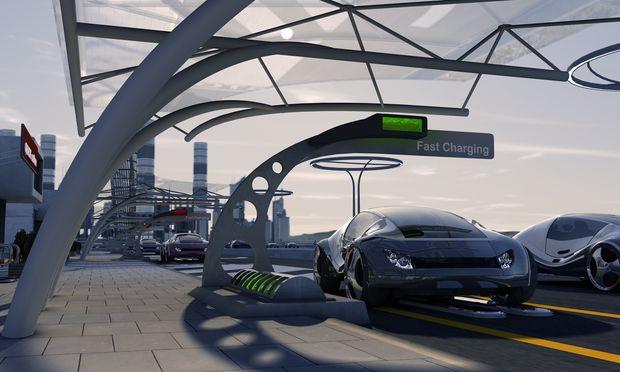 Nicht nur das Service, sondern auch die Architektur der Zapfstationen wird sich verändern (müssen). Im Bild eine Designstudie der Tankstelle der Zukunft von Siemens.