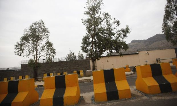 Fortifications are pictured outside the British embassy in Sanaa