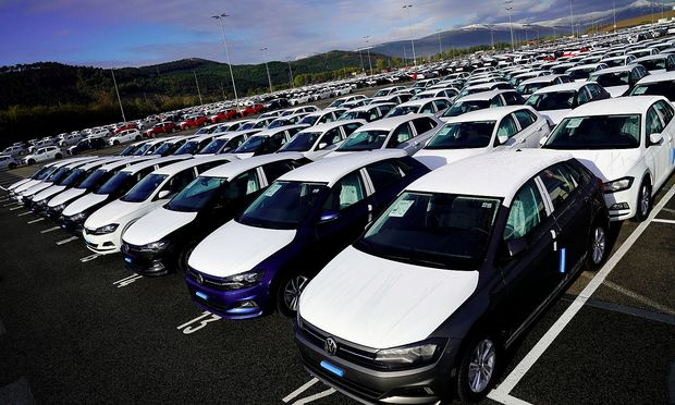 FILE PHOTO: Volkswagen Polo models are parked outside the company's plant in Pamplona