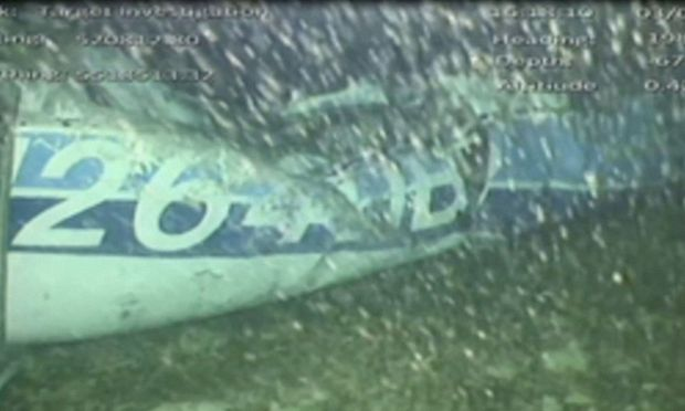 The wreckage of the missing aircraft carrying soccer player Emiliano Sala is seen on the seabed near Guernsey