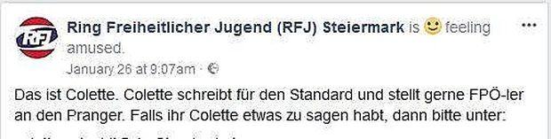 Das Posting des Ring Freiheitlicher Jugend Steiermark vom 26. Jänner, das mittlerweile gelöscht wurde.