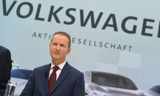 New VW CEO Diess addresses the media during a news conference at the Volkswagen plant in Wolfsburg