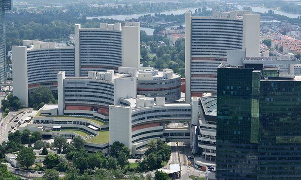 Blick auf die UNO-City in der Wiener Donaustadt.