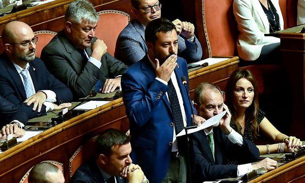 Matteo Salvini bei seiner Rede im römischen Senat am Dienstagabend.