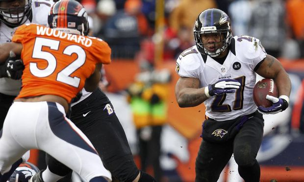 Baltimore Ravens running back Rice runs against the Denver Broncos in their NFL AFC Divisional playoff football game in Denver