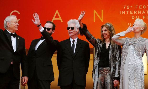 Jim Jarmusch versammelt in seinem Cannes-Eröffnungsfilm prominente Charakterköpfe. Im Bild: Bill Murray, Produzent Carter Logan, Jarmusch und seine Partnerin, Sara Driver, Tilda Swinton.