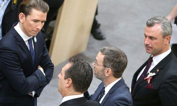 Sebastian Kurz führte am Donnerstag keine Koalitionsverhandlungen mit Heinz-Christian Strache, Herbert Kickl und Norbert Hofer (v. l.).