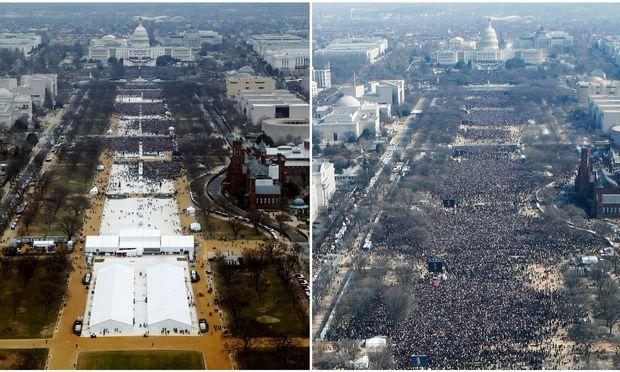 Das Publikum bei der Angelobung des neuen Präsidenten Trump (links) und des alten Präsidenten Obama (rechts) im Vergleich.