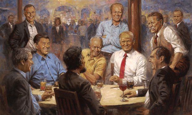 """""""The Republican Club"""": U. a mit Abraham Lincoln, Teddy Roosevelt, Dwight Eisenhower, Richard Nixon, Gerald Ford, Ronald Reagan und beiden Bushes. Im Hintergrund aber erscheint schon das Menetekel, in Form einer zielstrebigen Frau im Business-Kostüm. / Bild: Andy Thomas"""