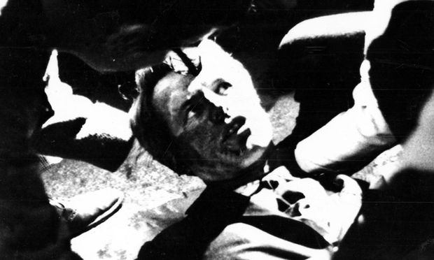 Senator Robert F Kennedy lies on the floor of the Ambassador Hotel in Los Angeles shortly after midn