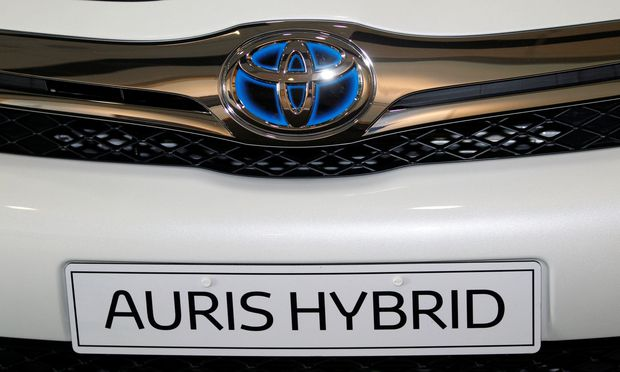 FILE PHOTO: A Toyota Auris is displayed on show at the Toyota factory in Derby