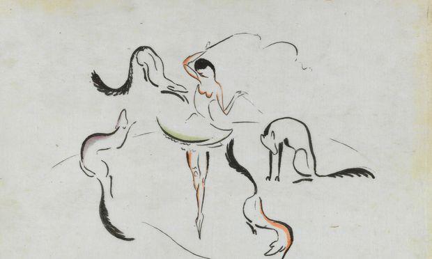 """Kolhammer & Mahringer bieten auf der Art & Antique """"Dompteuse mit vier Füchsen"""" von Max Ernst an."""