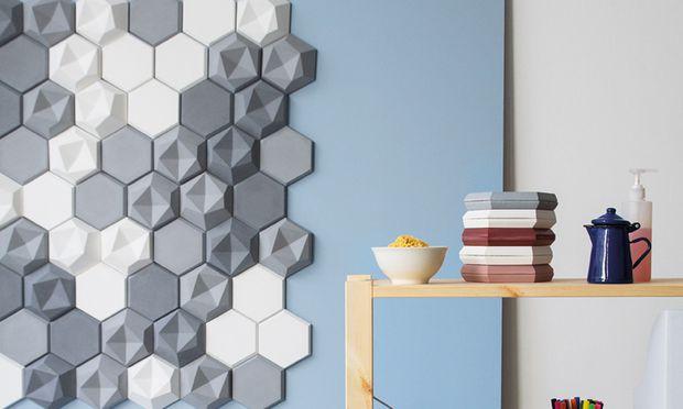 Edgy-Tiles. Die Betonfliesen zeichnen plastische Bilder an die Wand, von Kaza Concrete; www.kazaconcrete.com