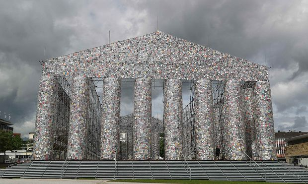 Picture shows ´Temple of books´ art project by Minujin ahead of the opening of Germany´s biggest art fair ´Documenta 14´ in Kassel,