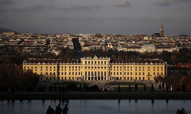 The evening sun illuminates Schoenbrunn palace in Vienna
