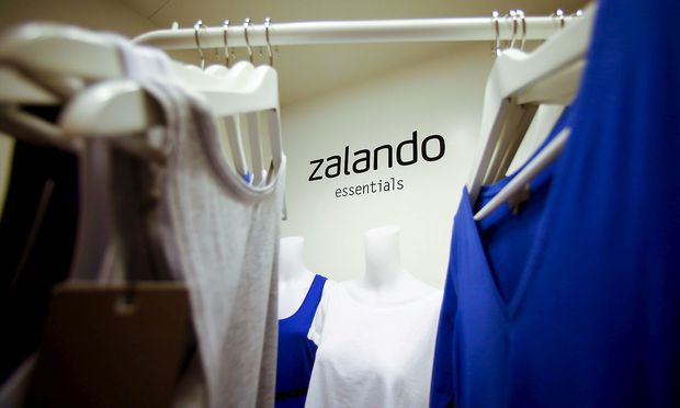 A Zalando logo printed on a wall is seen in a showroom of the fashion retailer Zalando in Berlin