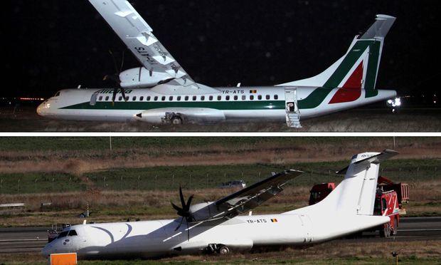 Im oberen Bild ist der Flieger direkt nach dem Absturz zu sehen, am nächsten Morgen sah das Flugzeug so aus, wie auf dem unteren Bild.