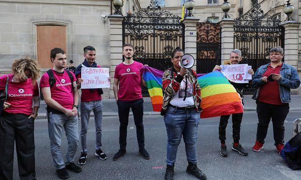Eine Protestaktion vor der Botschaft von Brunei in Paris vergangene Woche.
