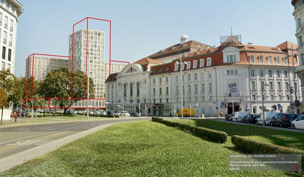 Der Turm am Heumarkt wird niedriger, das Hotel Intercont versetzt (rote Konturen: der ursprüngliche Plan).