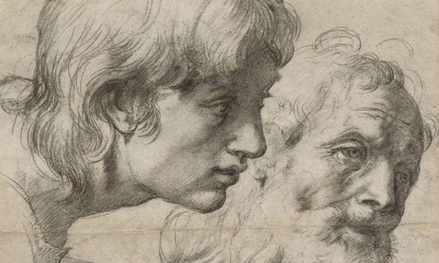 """Kopf- und Handstudie zu Raffaels letztem Gemälde """"Transfiguration"""", 1519-20 (Ausschnitt Kopfstudie)."""