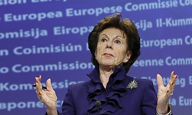 European Digital Agenda Commissioner Kroes addresses a news conference in Brussels
