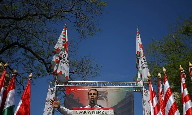 Vona, chairman of Jobbik party, delivers a speech to hundreds of far-right supporters during a rally against the World Jewish Congress Plenary Assembly in Budapest