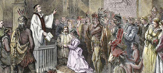 Gemälde: Pocahontas Vermählung