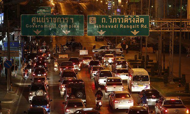 Ein Stau in Bangkok.