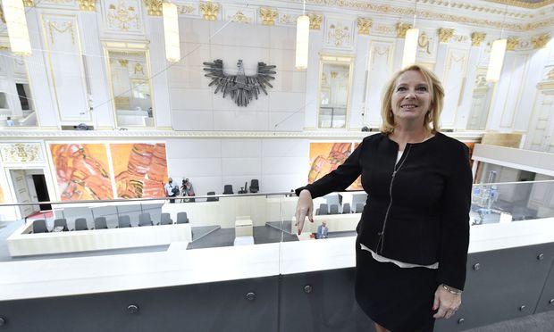Bures im Sitzungssaals des Nationalrats in der Hofburg