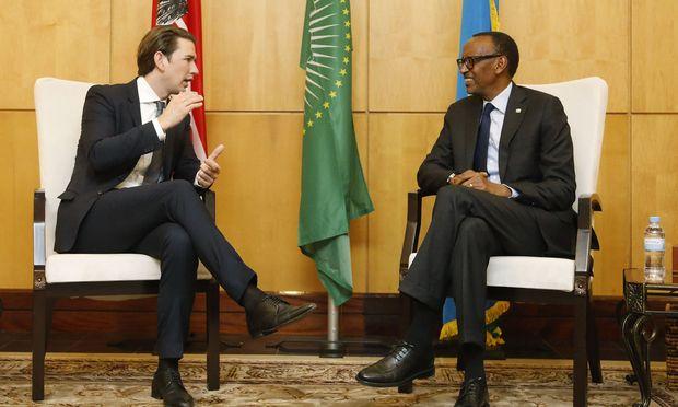 Kanzler Kurz mit Paul Kagame, dem Präsidenten von Ruanda.