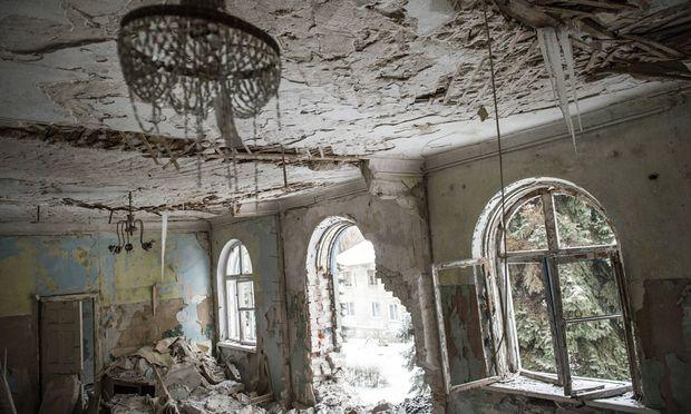 Ukraine Donbass Donetsk region Uglegorsk Burnt building of the city administration Photoagencyx