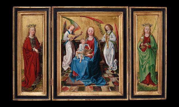 """Das Triptychon """"Maria mit Kind"""" stammt aus Südtirol um 1475 und wird dem Umkreis von Friedrich und Michael Pacher zugeschrieben. Zu finden ist es beim Kunsthandel Senger."""