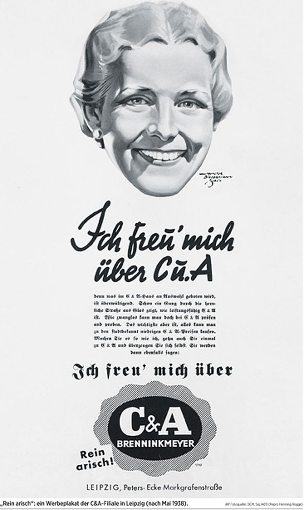 """""""Rein arisch"""": ein Werbeplakat der C&A-Filiale in Leipzig (nach Mai 1938)."""