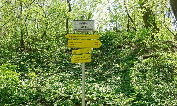 Altes Schild, neue Pfeile: Hameau, Wienerwald.