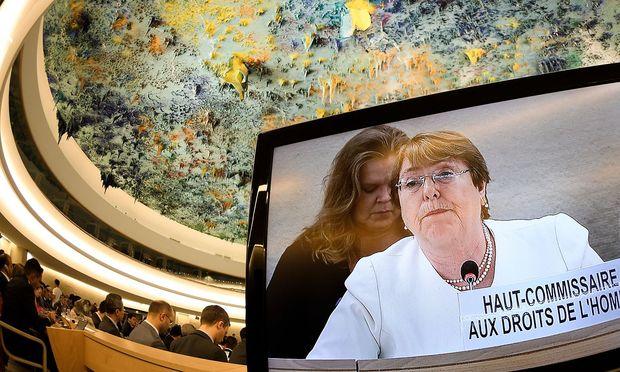 Michelle Bachelet bei ihrer Rede in Genf.