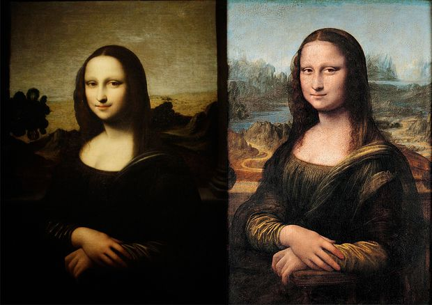 Linkes die ''Isleworth Mona Lisa'', rechts jene aus dem Louvre