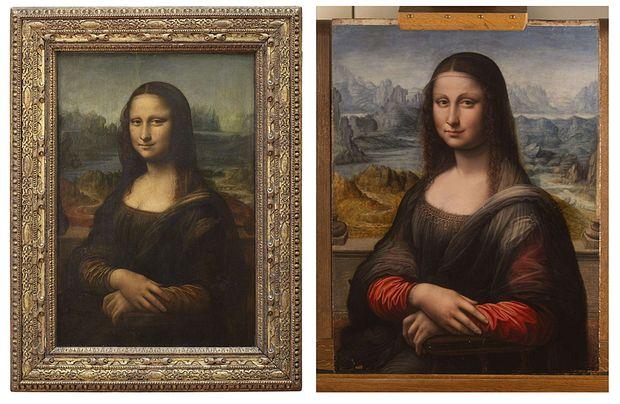 Rechts die MAdrider Mona Lisa, links das Original