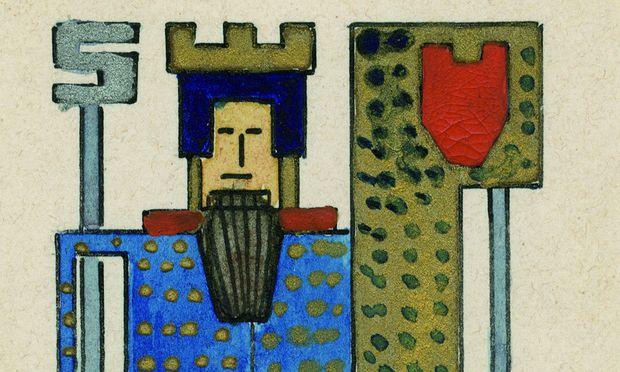 Spielkarte für Whist/Bridge, circa 1909/10 entworfen von Arnold Schönberg, Aquarell und Gouache auf Karton.