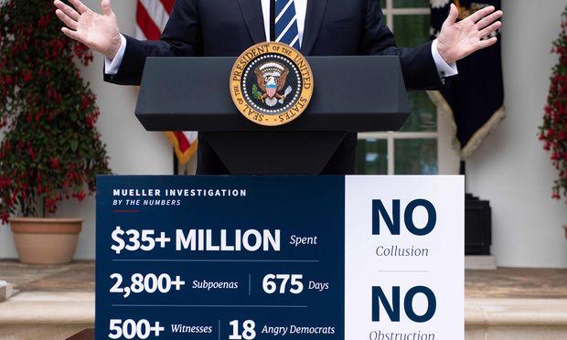 Trumps Zahlenwerk. Bei einer Pressekonferenz im Rosengarten des Weißen Hauses präsentierte der Präsident seine Sicht