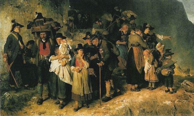 """Das berühmte Gemälde von Mathias Schmid über den Weg der Zillertaler Protestanten (""""Der letzte Blick zurück"""") von 1877."""