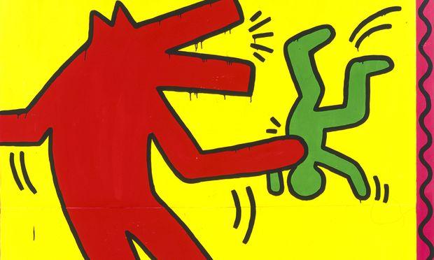"""""""Die Darstellung des bellenden Hundes ist ein Symbol, das Keith Haring oft und in sehr unterschiedlichen Konstellationen verwendet, um seine Angst auszudrücken"""", wird uns erklärt: Ohne Titel, 1982. / Bild: (c) Albertina"""
