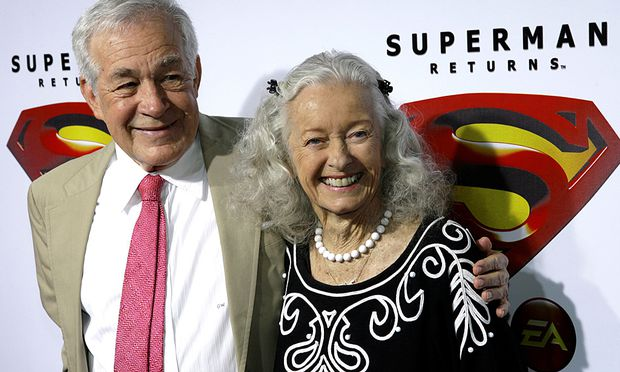 Actors Larson and Neill, who played Olsen and Lane respectively in the 1952 Superman television series, pose for photograph in Hollywood