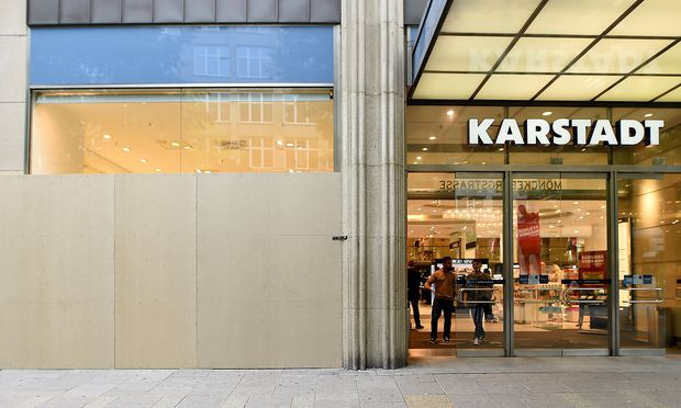 FILE PHOTO: Windows of German department store Karstadt are boarded up ahead of G20 summit in Hamburg