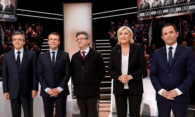 Fillon, Macron, Melencon, Le Pen und Hamon haben im TV die Möglichkeit, sich zu profilieren.