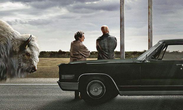 Ein alter Gott (Ian McShane als Mr. Wednesday vulgo Odin) kämpft mit Hilfe eines Sterblichen (Ricky Whittle als Shadow Moon) um seine Existenz. Aber was, bitte, macht das Bison da?