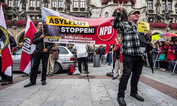 Eine NPD-Kundgebung in München