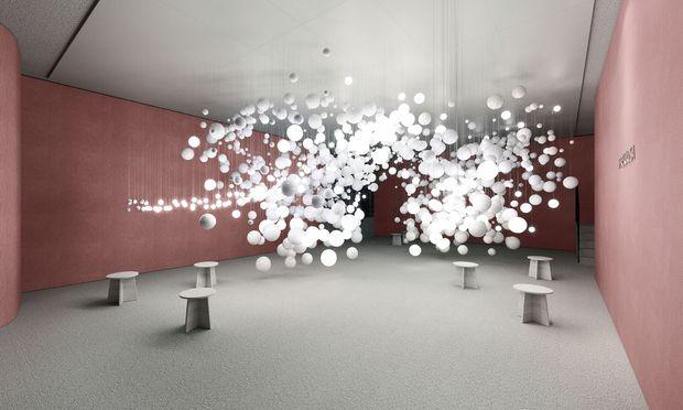 """Interaktiv. """"Breath of Light"""" heißt die Installation, die Vasku & Klug für Preciosa kreierten."""