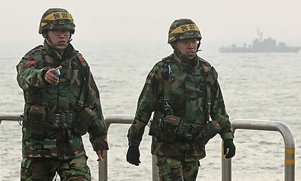 South Korean marines patrol on Yeonpyeong Island