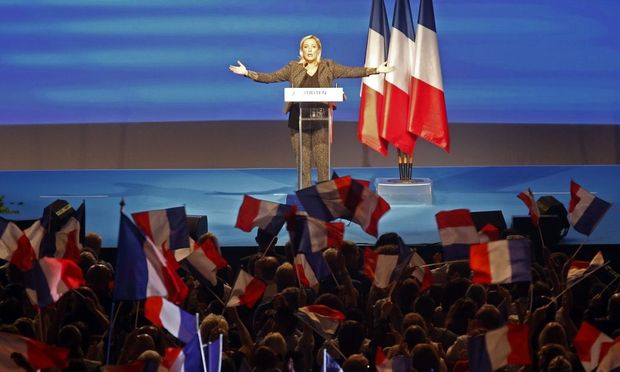 Le Pen, France's National Front political party leader, delivers a speech during the National Front political party summer university in Marseille