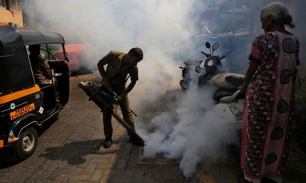 Im indischen Mumbai sprühen Stadtangestellte Giftwolken gegen Überträgermücken.